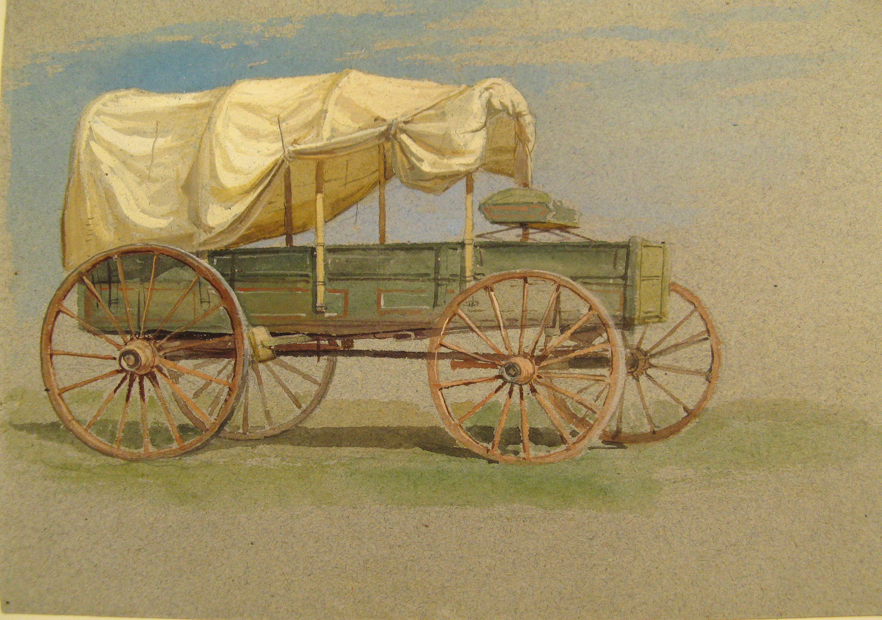 Drawing, A Covered Wagon, 1870–80 | Objects | Collection of Cooper ...