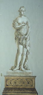 Vertical rectangle. Female figure, suggestive of sculpture, in costume of classical antiquity, standing on a pedestal with guilloche decoration. Printed in grays and neutral yellow on gray ground.