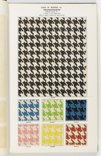 Collection of sidewall and border patterns, each shown in multiple colorways. Pages of swatches in the back of book showing small textural patterns.