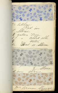 Small leather-bound book with printed textile samples. Mostly small-patterned florals and geometrics and some cretonne cloth. Predominantly browns, grays and blues.
