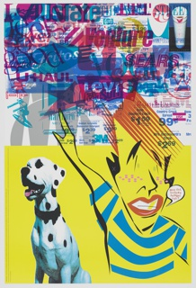 Horizontal line at center divides composition approximately in half, lower half with bright yellow background, upper half with light gray background. At right, stylized figure with red hair, freckles, gold tooth, and striped shirt points right arm upwards. Printed text in speech bubble at right of figure: gee dad, modern design!, huh?   At left, Dalmatian dog with black collar. In printed text at left edge of lower composition: IMPORTANT: This poster was designed on request to commemor-eight the introduction of the new Northstar/Broughton Printing Company's 8-color, 26 x 40, Miller U.V. mega-press (Termin-eight or #3). / Granted this poster's message could have been said on a business card, but this press isn't designed to print business cards. Unfortunately, our printing demonstration uses quite a bit of premium paper. Rest assured all the leftovers not employed for promotional purposes will be recycled. / Forgive our indulgence.   At upper left, gray stylized silhouette of the top of the Chrysler building occluded by logos. At upper right, image of Styrofoam coffee cup with lipstick print on black and blue background. Printed text below: design credit  Logos and graphics layered in red and yellow heavily obscure upper composition, some recognizable: Jewel, Braun, Playboy, General Electric, Kmart, Nike, Cannon, Westinghouse, IBM, RC Cola, LEVIS, U-HAUL, Marlborough, Ralph Lauren Allstate.