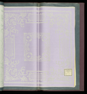 "Bound volume containing twenty samples of square damask napkins – two in monochrome and eighteen in two colors. Each sample has a paper label attached: ""James C. Hardy & Co., Linens, Manufacturers and Importers, New York."""