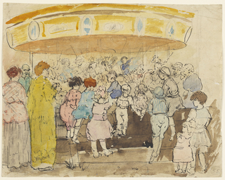 A group of children beside a low fence, in the foreground, their backs turned to the spectator, facing a merry-go-round. Many of the figures hold the fence for a better view.  Adults at the left.