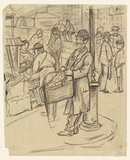 Figure of a bearded peddler of shoe-strings standing beside a lamp post. Other sidewalk vendors in the background. View of city street and buildings beyond.