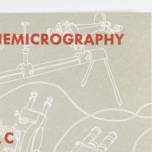Business card for Dr. Roman Vishniac. Background grey with white outlines of scientific equiment. Photomicrography and Cinemicrography printed at top left and top right, respectively. Dr. Roman Vishnic printed in center, beneath: Research Through Photography. Address printed along bottom edge: 219 West 81 Street, New York 24, N. Y. TEL. SU7-0997