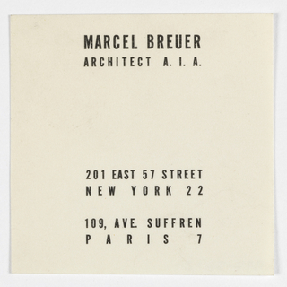 Business Card, Marcel Breuer, Architect  A.I.A., ca. 1956