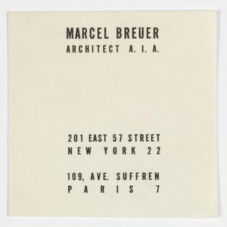 Business Card, Marcel Breuer, Architect  A.I.A.
