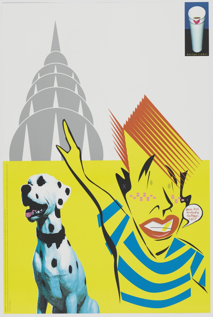 Horizontal line at center divides composition approximately in half, lower half with bright yellow background, upper half with light gray background. At right, stylized figure with red hair, freckles, gold tooth, and striped shirt points right arm upwards. Printed text in speech bubble at right of figure: gee dad, modern design!, huh?   At left, Dalmatian dog with black collar. In printed text at left edge of lower composition: IMPORTANT: This poster was designed on request to commemor-eight the introduction of the new Northstar/Broughton Printing Company's 8-color, 26 x 40, Miller U.V. mega-press (Termin-eight or #3). / Granted this poster's message could have been said on a business card, but this press isn't designed to print business cards. Unfortunately, our printing demonstration uses quite a bit of premium paper. Rest assured all the leftovers not employed for promotional purposes will be recycled. / Forgive our indulgence.   At upper left, gray stylized silhouette of the top of the Chrysler building. At upper right, image of Styrofoam coffee cup with lipstick print on black and blue background. Printed text below: design credit