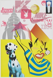 Horizontal line at center divides composition approximately in half, lower half with bright yellow background, upper half with light gray background. At right, stylized figure with red hair, freckles, gold tooth, and striped shirt points right arm upwards. Printed text in speech bubble at right of figure: gee dad, modern design!, huh?   At left, Dalmatian dog with black collar. In printed text at left edge of lower composition: IMPORTANT: This poster was designed on request to commemor-eight the introduction of the new Northstar/Broughton Printing Company's 8-color, 26 x 40, Miller U.V. mega-press (Termin-eight or #3). / Granted this poster's message could have been said on a business card, but this press isn't designed to print business cards. Unfortunately, our printing demonstration uses quite a bit of premium paper. Rest assured all the leftovers not employed for promotional purposes will be recycled. / Forgive our indulgence.   At upper left, gray stylized silhouette of the top of the Chrysler building. At upper right, image of Styrofoam coffee cup with lipstick print on black and blue background. Printed text below: design credit  Logos and graphics layered in red and yellow obscure upper composition, some recognizable: Jewel, Braun, Playboy, General Electric, Kmart, Nike, Cannon, Westinghouse, IBM, RC Cola.