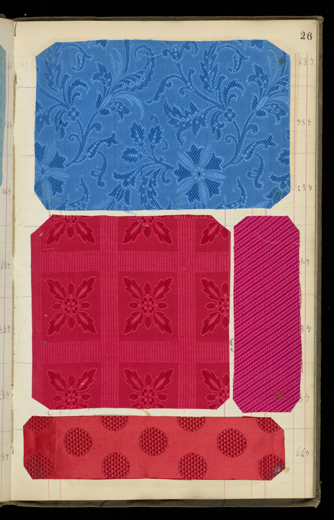 Scrapbook, assembled in France, containing 186 textile swatches including 9 woven as ascots or ties and 1 woven as a handerkerchief corner.