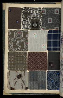 Scrapbook with 1,397 swatches of fabric. There are several woven borders.