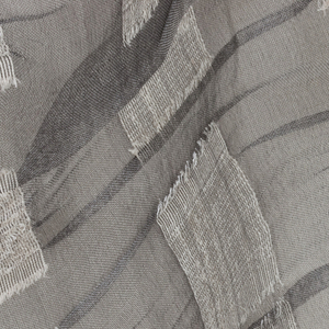 Sheer silver-gray ground with squares of stiff, slubbed kibiso, contracted to make the gray ground pucker