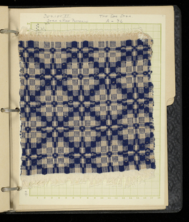 Weaver's sample book with hand woven samples and diagrams. Samples are mostly geometrical in pattern. Executed by the husband of the donor.