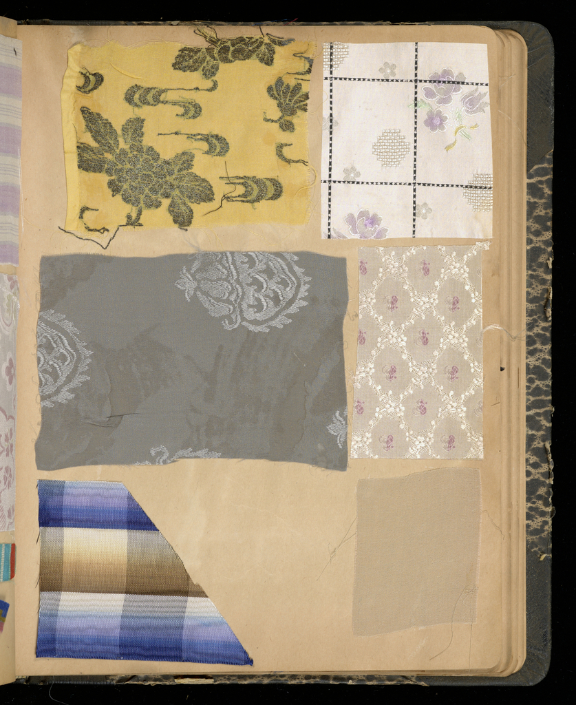 Scrapbook containing 614 examples of fabric and ribbons (woven, printed, machine embroidered, metallic yarns).