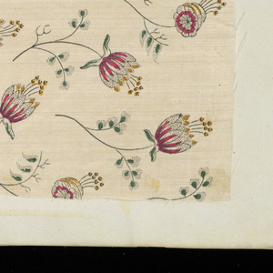Seventy-six fragments of silk and cotton, mostly dress goods, mounted on the pages of an early nineteenth century blank book covered in red-violet marbleized paper.