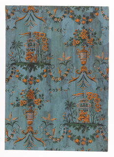 Arabesque-style Chinoiserie. Alternating motifs in orange and dark green; pergola hung with bells played by man and boy in Chinese costume, surrounded by foliage and supporting floral and fruit festoons; an urn filled with flowers and scrolled acanthus. Printed on deep blue ground. Vertical rectangle of joined sheets of paper.
