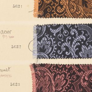Folio volume with sample textiles: G. Girard-Moel, coleurs de dames, Lyon, France, no date.