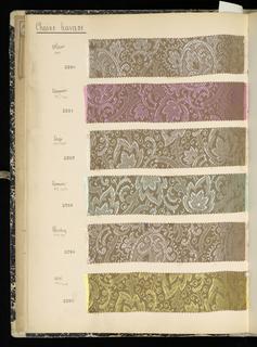 Folio volume with sample textiles: G. Girard-Moel, coleurs de dames, Lyon, France, no date.
