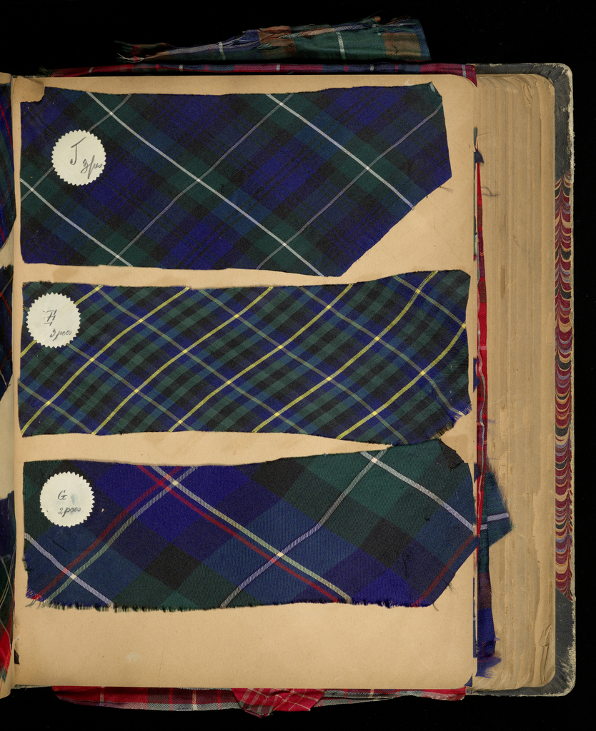 150 examples of woven silk plaid pinned and pasted into a scrapbook. Some, probably all, of the fabrics are of Swiss manufacture.