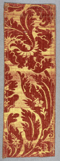 Large scale floral forms in red and yellow silk. Linen weft not visible. Textile known as 'brocatelle'.