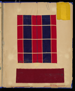 One hundred samples of silks, dress, ribbons in stripes, plaids and flowered. Mounted on paper leaves of a book; cover: cloth, decorated with raised applied ornaments in style of Chinese jars.