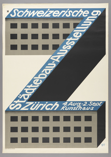 A simply constructed three story building in the shape of a Z, signifying the Zurich museum is the single element of this poster; the only ornament is the lettering running over the flat roof. Executed in black, gray and blue with white lettering.