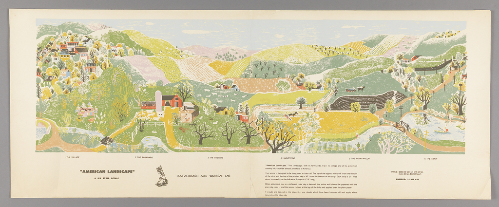 Views of hills, valleys, farms and villages, with an overall calico effect. Printed in greens, blue, yellow and black on white ground.