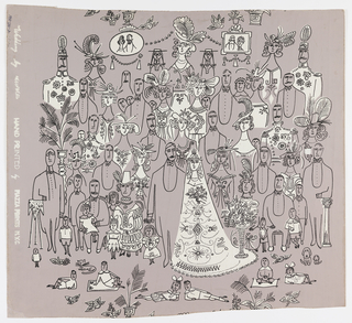 A fantasy on a group photograph at a wedding reception. Line drawing in black. The bride and groom stand at center surrounded by relatives and friends, including a clergyman and various uniformed gentleman. Printed in black and white on gray ground.
