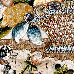 Fragment depicting a basket of flowers resting on the ground with a bird and flowers in the foreground.