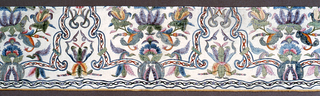 Panel with several repeats of a conventionalized design made from leaves and flowers, arabesques and curving, intersecting lines.