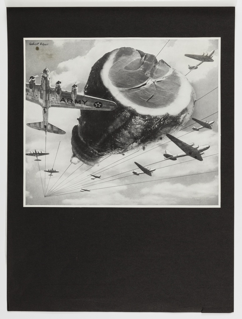 Photomontage in black and white featuring army planes flighing alongside an oversized ham at center.