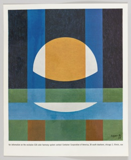 Print consisting of an abstract pattern of green, blues, yellow, orange, and white in rectangular and semi-circular forms to demonstrate the exclusive color harmony system of CCA. Printed in black, along the bottom: for information on the exclusive CCA color harmony system contact Container Corporation of America, 38 south dearborn, chicago 3, illinois, usa.