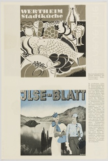Print that appears to be a booklet page with two cover designs for die neue linie. At left, September 1932 cover, featuring a woman with an orange, yellow, and blue scarf. Large bunches of green and red grapes are in the center, and an abstract blue form appears in the background. Printed in black and white, along the top: die neue linie. At right, November 1932 cover, featuring a woman carrying skis and poles at center, looking towards the background, a purple abstract mountain landscape. Printed in white, along the top: die neue linie. Verso: Advertisement for Werthheim Stadtküche in brown, white, and black containing assorted foods and drinks (top) and JLSE-Blatt in black, white, and blue, featuring two female figures in front of a landscape with water and mountains (bottom). German printed black text at right.