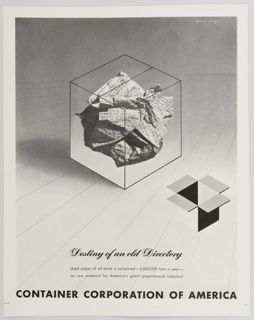 Black and white advertisement proof for Container Corporation of America. At center, a crumpled paper ball covered in black printed text appears inside an outline of a package. Below, at center right, an open box is seen. Printed in black, in cursive text, lower center: Destiny of an old Directory. Printed in black, sans serif type, directly below: Used paper of all kinds is reclaimed—4,000,000 tons a year— / as raw material for America's giant paperboard industry! Printed in black across bottom: CONTAINER CORPORATION OF AMERICA. The background is white at the bottom and gradually becomes greyer as it reaches the top portion of the design. Grey diagonal lines lead towards and converge at a vanishing point in the distance at upper right.
