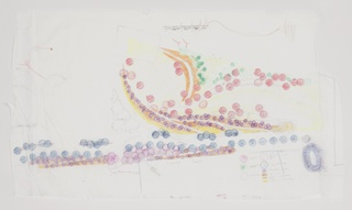Drawing with vegetation proposals for pier at Brooklyn Bridge Park in which various species are represented with different colored circles and swathes of color. Drawing is irregularly shaped; left and right edges are torn.