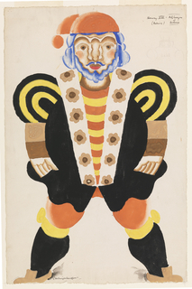 "Costume design for the character King Henry VIII for a production of ""Catherine Parr, or Alexander's Horse,"" a one-act play written by Maurice Baring and performed by the Arts League of Service. The figure of the King stands frontally with legs apart, wearing a stylized black and yellow costume. The shoulders of the costume are patterned in concentric yellow and black bands; the lapel of the King's black jacket is white with brown flowers; under the jacket is a shirt with yellow and red stripes and red stockings. The King has a blue moustache, beard, and hair, and wears a red cap."