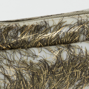 Bag of flexible polyurethane embedded with silk and gilded paper fringes from nishijin weaving.