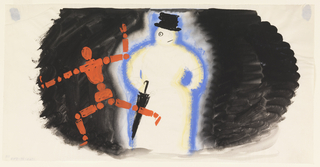 """Study for """"Official for Winter Double Shell Lubricating Oil"""" poster. At center left, a running figure composed of red dots and dashes resembling an articulated, wooden mannequin. To the right, a snowman with a battered top hat and umbrella. Both figures set against a black ground."""