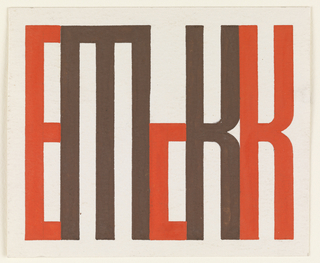 "Design for the artist's monogram. The letters ""E McK K"" depicted in connecting sans-serif block letters. ""E,"" ""c,"" and  ""K"" in red; ""M"" and the first ""K"" (reading left to right) in brown."
