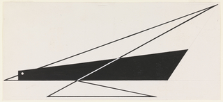 """Study for """"Quickest Way by Air Mail"""" poster. An abstract rendering of a bird, the body in solid black with a white circular eye, and two triangular wings rendered in heavy, black outline. A white diagonal line connects the two triangular wings across the central black body. The beak is indicated by a small white triangle which touches the left margin."""