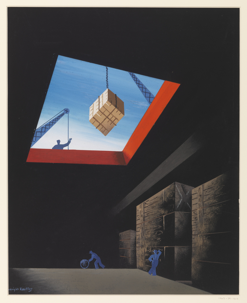Design for the cover of an issue of Fortune magazine. Image of the interior of a cargo ship.  At bottom center are two blue silhouettes of workers, one is pushing a barrel at center and the other to the right is leaning against cargo containers.  Seen at top is the opening where another worker signals down a crane, lowering a cargo container.