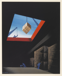 Image of the interior of a cargo ship.  At bottom center are two blue silhouettes of workers, one is pushing a barrel at center and the other to the right is leaning against cargo containers.  Seen at top is the opening where another worker signals down a crane, lowering a cargo container.