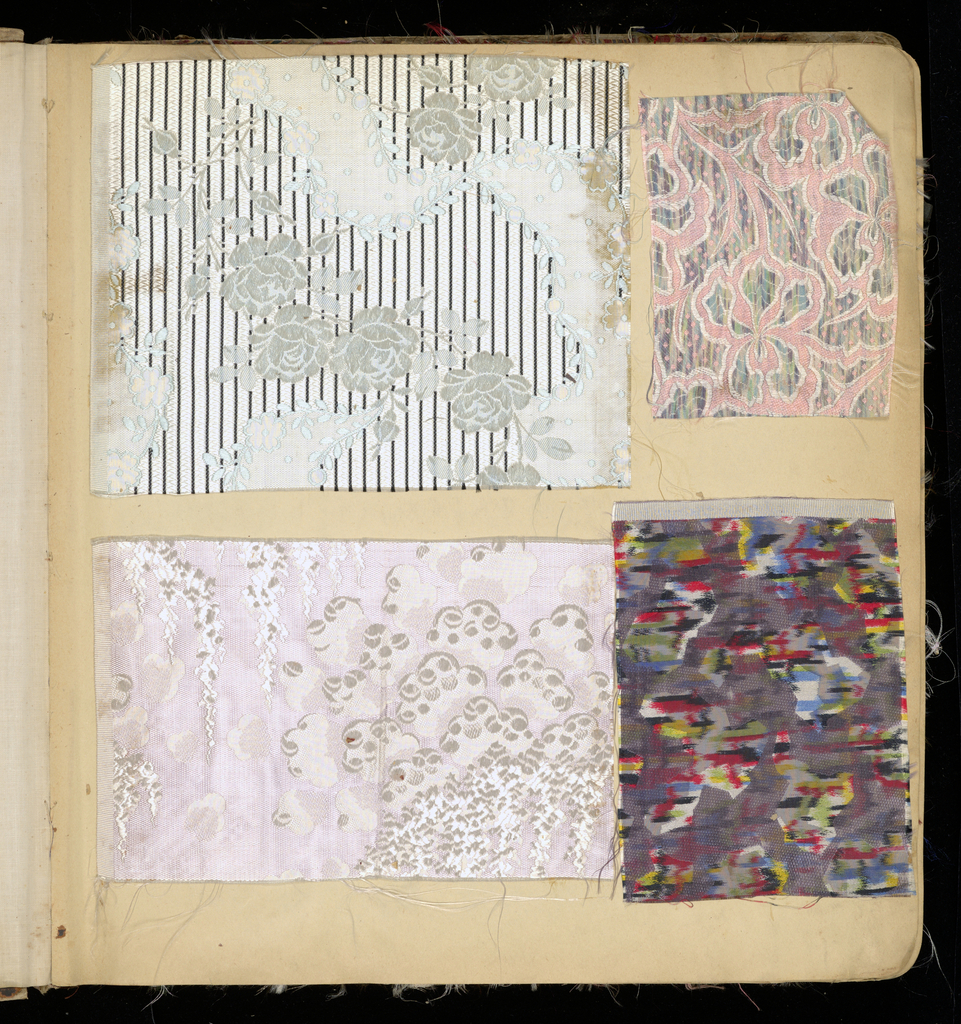 Scrapbook of French textile swatches from several different manufacturers, possibly covering several years, assembled in New York. The fabrics may have been sold through William Openhym & Sons.