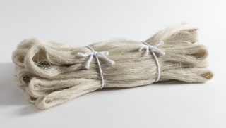 Looped skeins of natural-colored kibisoo yarn