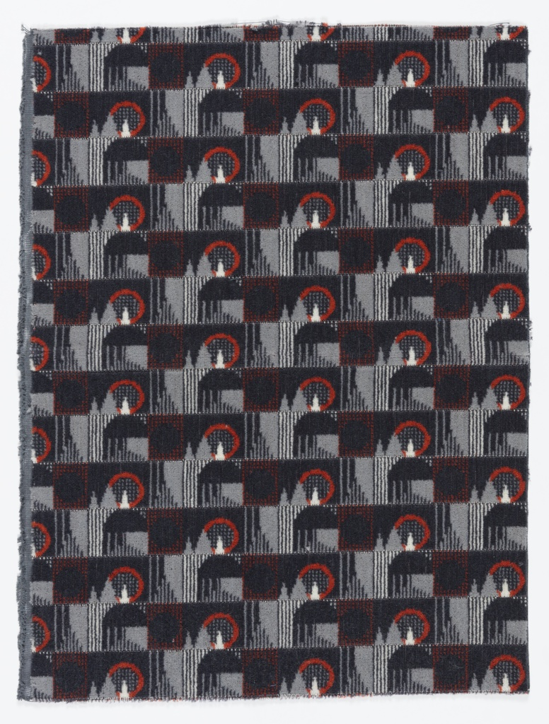 Sample of pile woven fabric with a small-scale, grid-based geometric design in dark gray, light gray, off-white and burnt orange.