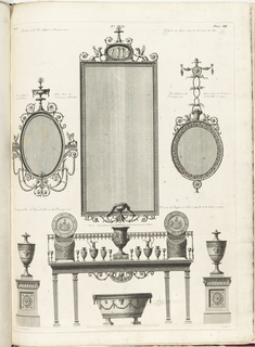 Designs for a large and two smaller mirrors; design for a side board table in ancient Greco-Roman style.