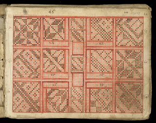 Small, oblong book covered in decorated end papers with vellum corners and back and remains of leather tabs to tie. Contains weaving graphs in colors of red and black and charts. Simple geometric designs.