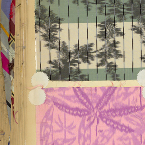 Hard cover book containing about 2,500 tipped-in samples of woven silks in florals, plaids and stripes.