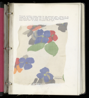 Sample book with an identification of various silk samples compiled by the donor from his own designs, construction and manufacture.