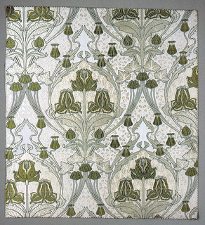 Furnishing textile with vertically symmetrical pattern of ogee forms enclosing flowers in an Art Nouveau style. Colors are pale yellow, ivory, and two shades of green.